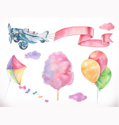 watercolor air kite airplane cotton candy vector image