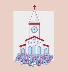 Wedding celebration card with church building vector