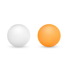 White and orange ping-pong balls isolated vector