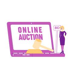 Woman buy assets in internet using online platform vector