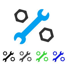 Wrench and nuts flat icon vector