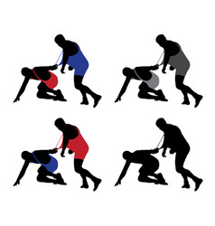 Wrestler pulling opponents uniform vector