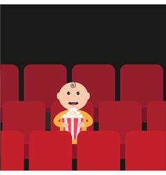 Cartoon man little boy character sitting in movie vector image