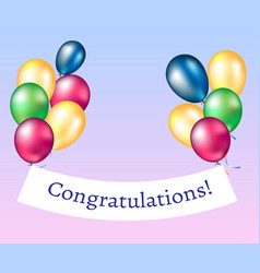 congratulations banner with balloons vector image vector image