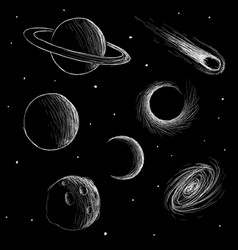 cosmic phenomena and space planets vector image