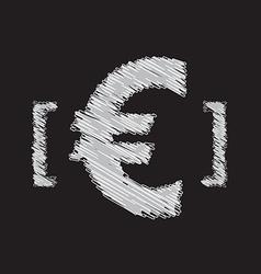 euro icon sketch design vector image vector image