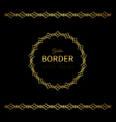 golden geometrical border and circle frame vector image vector image