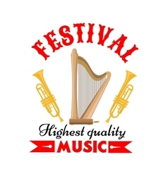 Music festival sign with harp and trumpet vector image vector image