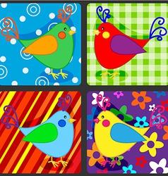 Seamless patchwork birds vector image