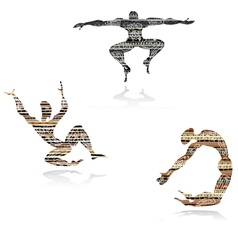 Silhouette of dancing mens in ethnic style vector image vector image