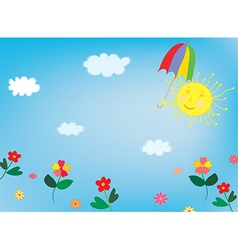 Sun and sky background for children vector image