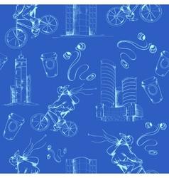 Blueprint city seamless pattern vector image