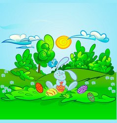 cute rabbit with easter vector image vector image