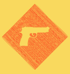 gun sign red scribble icon vector image