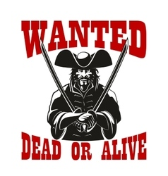 Reward for pirate wanted dead or alive vector