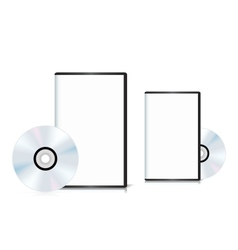 Set of DVD cases with a blank cover and shiny DVD vector image