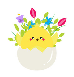 cute cartoon rooster chicken sitting in egg with vector image