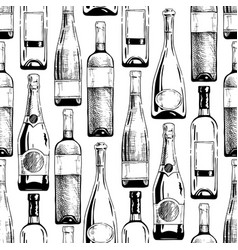 pattern with wine and champagne bottles vector image