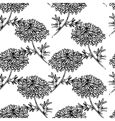 Seamless pattern with drowing chrysanthemum flower vector image