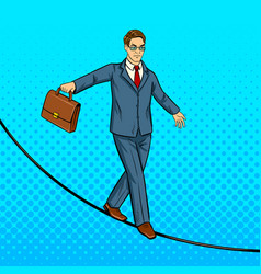 businessman balancing on rope pop art vector image