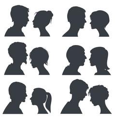 Couple faces young boy and girl head vector