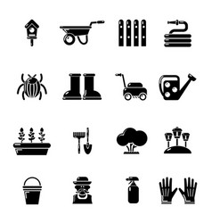 Gardener icons set simple style vector