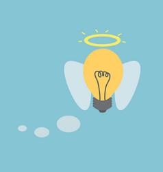 Idea light bulb with angel wings vector