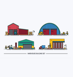 set of warehouse buildings of different shape with vector image