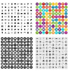 100 furnishing icons set variant vector