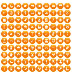 100 mill icons set orange vector