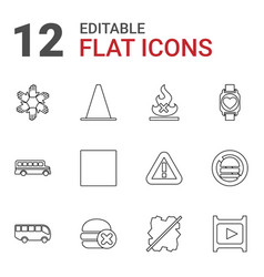 12 stop icons vector