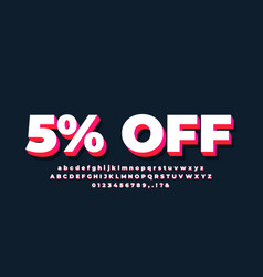 5 off sale 3d text white red bright vector