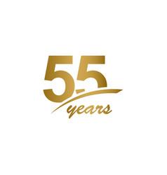 55 years anniversary elegant gold line vector
