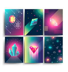 Abstract trendy cosmic posters with crystal vector