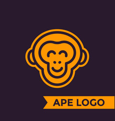 Ape chimp logo element linear style vector