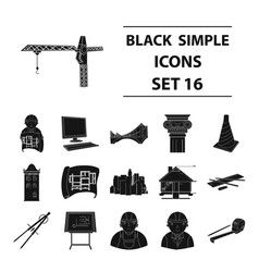 architect set icons in black style big collection vector image