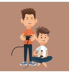 boys gamers with controller console and joystick vector image