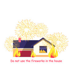 burning building with fireworks isolated on white vector image