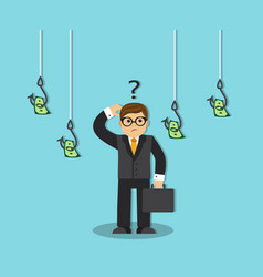 businessman and money on the hook vector image