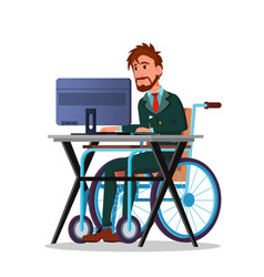 businessman in a wheelchair working behind a vector image