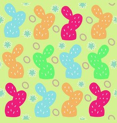 cactus and oval shapes on yellow backgroundpunchy vector image