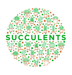 Cactus and succelents in pots concept in circle vector