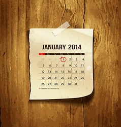 Calendar January 2014 vector image