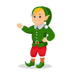 cartoon christmas elf stands with hands vector image