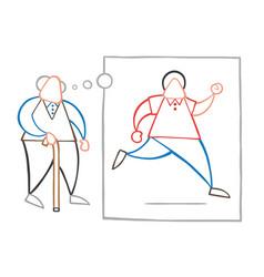 Cartoon old man walking with wooden walking stick vector