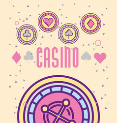 casino roulete machine chips aces cartoon style vector image