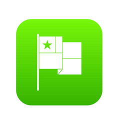 chile flag icon green vector image