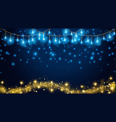 Christmas fairy lights on dark blue background vector