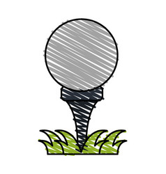 color crayon stripe cartoon golf ball on tee in vector image