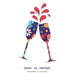 Colorful bouquet flowers toasting wine glasses vector